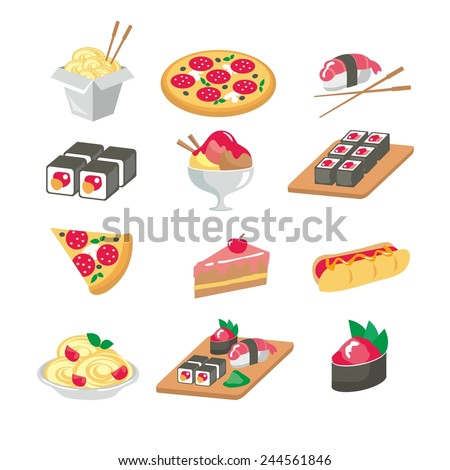 Food icons flat - stock vector