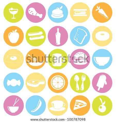 food icons for restaurant, dinner, items and others