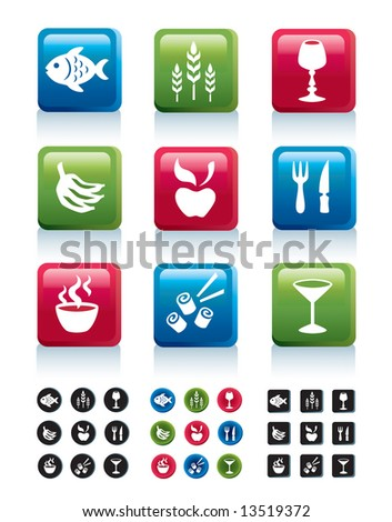 Food icons in 4 variations, part 1 - stock vector