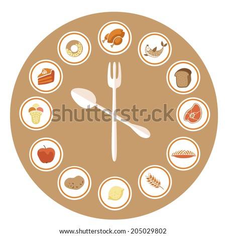 Food Icons Infographic Clock. Flat Design. Fitness, Diet and Calorie Counter Concept (vector) - stock vector