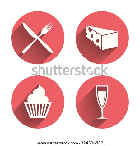 Food icons. Muffin cupcake symbol. Fork and knife sign. Glass of champagne or wine. Slice of cheese. Pink circles flat buttons with shadow. Vector - stock vector