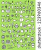 Food Icons on green background - stock vector