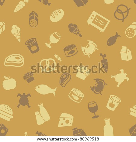 Food icons seamless background - stock vector