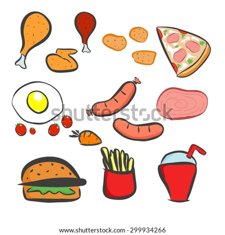 Food icons set , Fast food icons set , fast food on isolated background - Fast food. Flat design. Vector Illustration