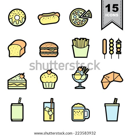 Food  icons set .Illustration eps 10 - stock vector