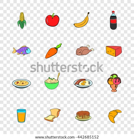 Food icons set in pop-art style with transparency for design - stock vector