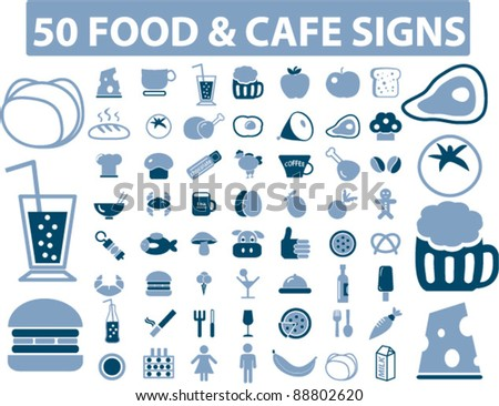 food icons set, signs, vector - stock vector
