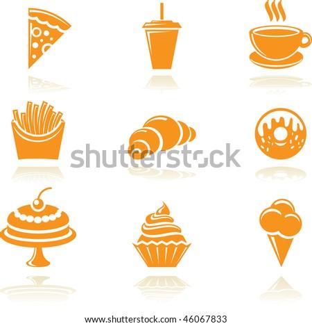Food icons set. Vector symbols. - stock vector