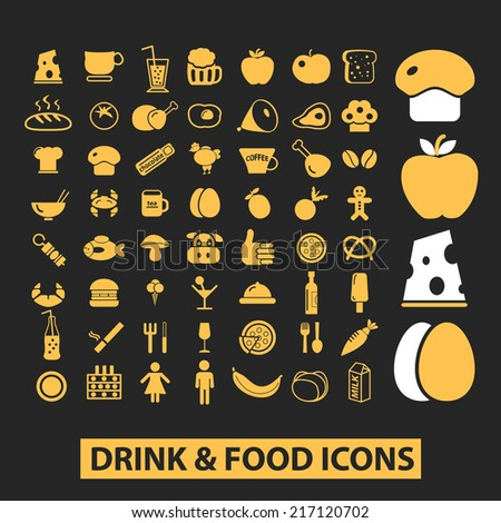 food icons, signs, illustrations, silhouettes set, vector - stock vector