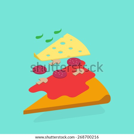 Food illustration - pizza. Modern 3d flat design isometric concept. - stock vector