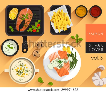 Food Illustration : Salmon Steak Set : Vector Illustration : Fish - stock vector