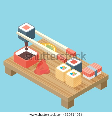 Food illustration - sushi roll with nori. Modern 3d flat design isometric concept. - stock vector