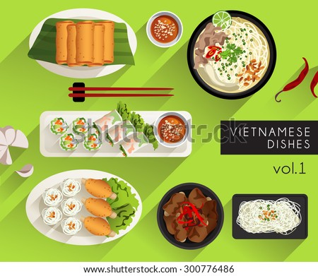 Food Illustration : Vietnamese Cuisine  : Vector Illustration - stock vector