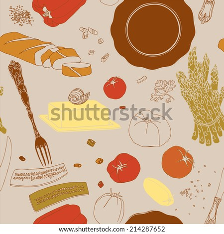 Food illustrations collection, food ingredients. - stock vector