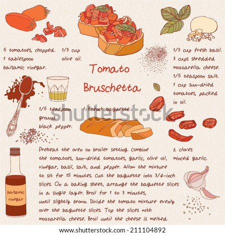 Food illustrations. Food ingredients. Bruschetta with tomatoes. Recipe card. Vector.