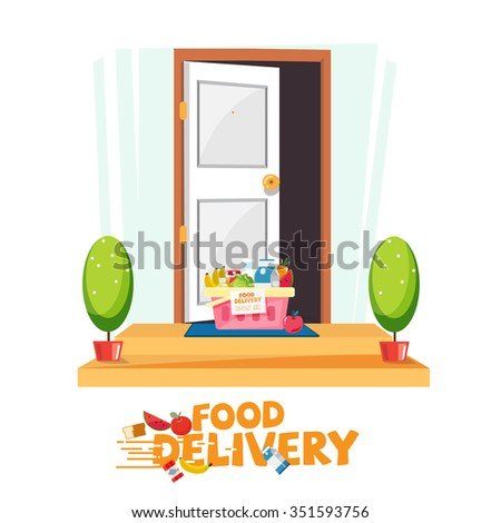 food in basket in front of the door. delivery food service concept. e-commerce - vector illustration - stock vector