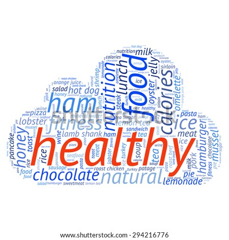 food  info-text graphics and arrangement concept (word cloud)