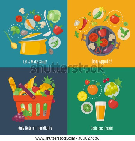 Food infographic. Flat style. Shopping basket. Grilled vegetables, soup and juice infographic.  - stock vector