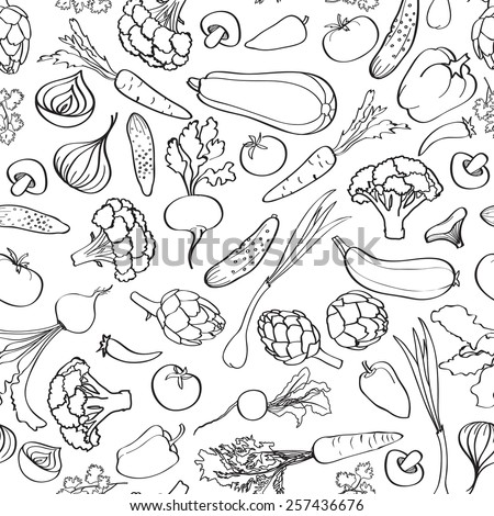 Food ingredient seamless background. Vegetable pattern. - stock vector