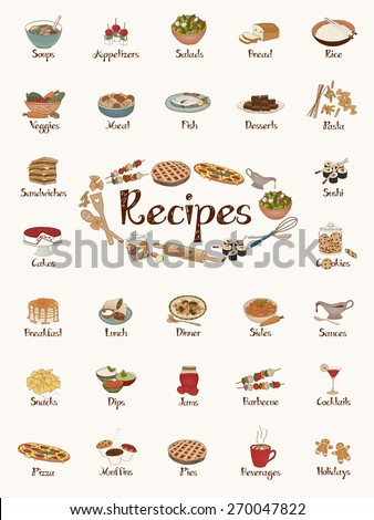Food items / recipe stickers / cute hand-drawn illustrations - stock vector