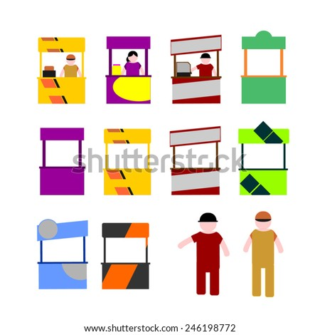 Food kiosk. Food cart stalls, kiosk icon set. Food kiosk designs with seller - stock vector