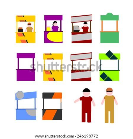 Food kiosk. Food cart stalls, kiosk icon set. Food kiosk mock up designs with seller - stock vector