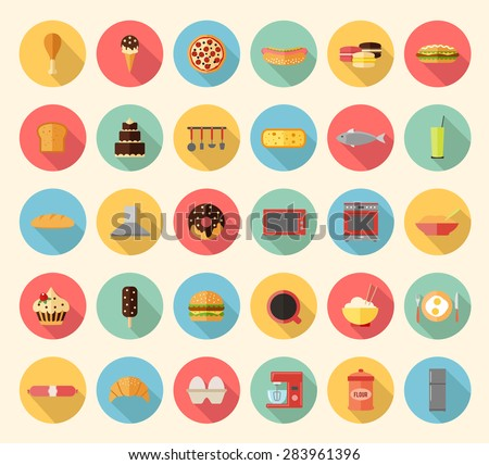 Food, kitchen appliances and kitchenware flat design icons set - stock vector
