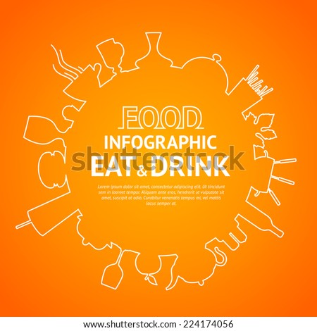 Food logo design on circle graphic. Vector illustration. - stock vector