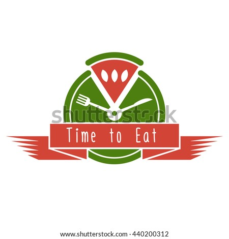 Food logo watermelon. Good for restaurant, cafe, food delivery, market. Vector logo with watermelon. Flat design of logo with watermelon. Logo with clock, fork, knife and watermelon - stock vector