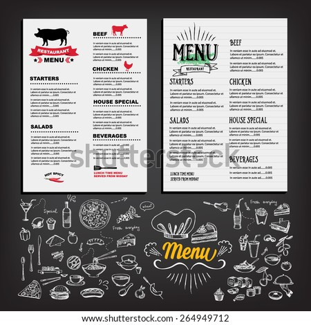 Food menu, restaurant template design. Flyer cafe. Brochure vintage. Cook idea. - stock vector