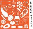 Food pattern - stock vector