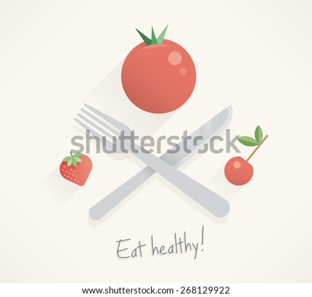 Food pirates - cross fork and knife with tomato, cherry and strawberry abstract unusual illustration with text Eat healthy! Idea - Healthy lifestyle and eating motivation, Vegetarian food, Raw foodism - stock vector