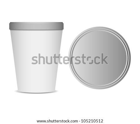 food plastic container , dessert, yogurt, ice-cream, sour cream with cover - stock vector