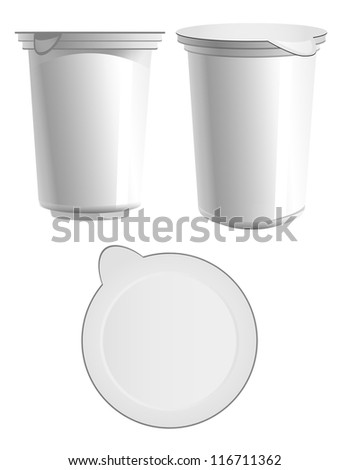 Food plastic container long , dessert, yogurt, ice-cream, sour cream with cover at different angles - stock vector