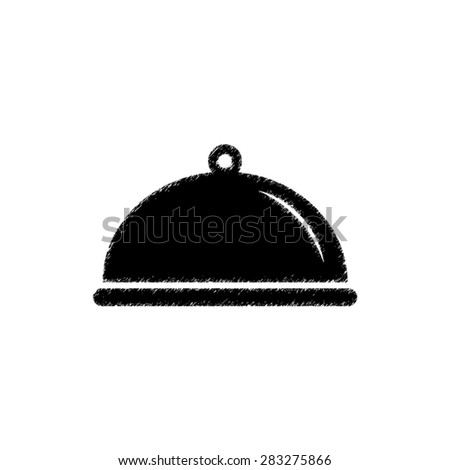 Food platter serving sign - black vector icon - stock vector