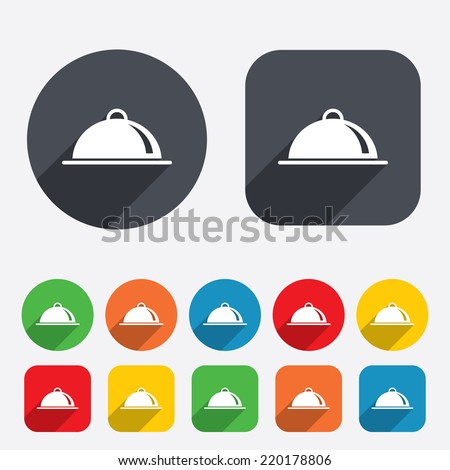 Food platter serving sign icon. Table setting in restaurant symbol. Circles and rounded squares 12 buttons. Vector - stock vector