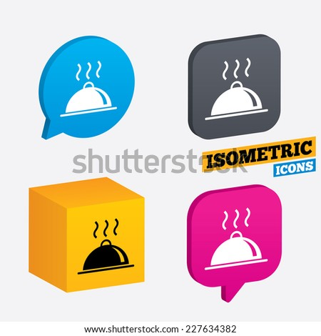 Food platter serving sign icon. Table setting in restaurant symbol. Hot warm meal. Isometric speech bubbles and cube. Rotated icons with edges. Vector - stock vector