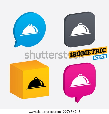 Food platter serving sign icon. Table setting in restaurant symbol. Isometric speech bubbles and cube. Rotated icons with edges. Vector - stock vector