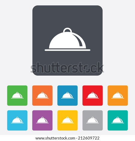 Food platter serving sign icon. Table setting in restaurant symbol. Rounded squares 11 buttons. Vector - stock vector