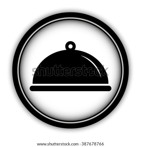 Food platter serving sign - vector icon; round  button with shadow
