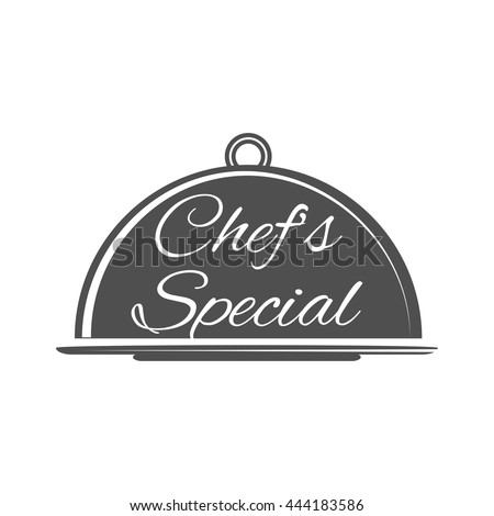 Food platter serving vector icon. Chef's Special. Restaurant menu. Waiter hands with cloche lid vector illustration. Hand holding or carrying empty silver serving platter. - stock vector