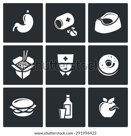 Food poisoning icons set. Vector Illustration. Isolated Flat Icons collection on a black background for design - stock vector