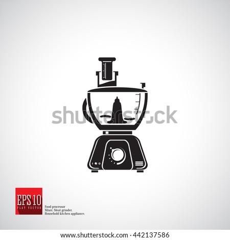 Food processor one big bowl with chopping knives and beaker detailed flat icon kitchen appliance. Blender isolated icon silhouette black shape, kitchen equipment, household mixer processor.  - stock vector