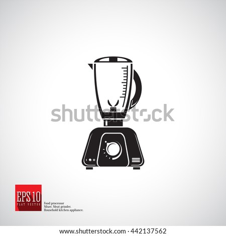 Food processor single bowl detailed flat icon kitchen appliance. Blender isolated icon silhouette black shape, kitchen equipment, household mixer processor.  - stock vector