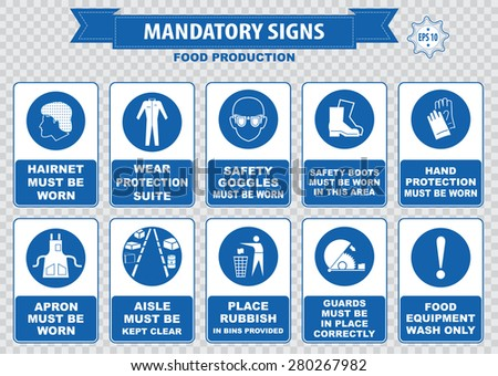 Food production mandatory sign (hairnet must be worn, safety goggles, boots, hand protection, apron, aisle, place rubbish in bins provided, guards, food equipment, face mask, foot bath, hand wash) - stock vector