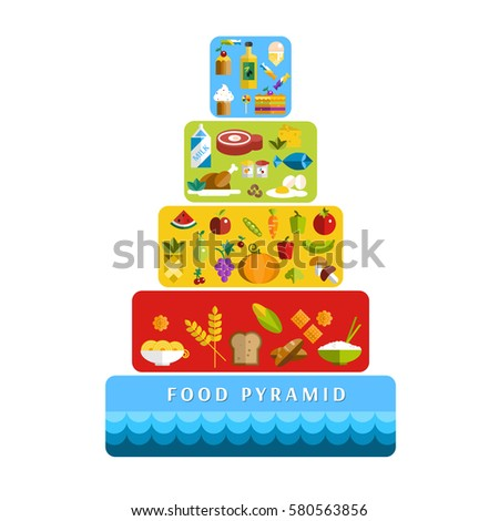 Food Pyramid Healthy Diet Vector Flat Illustration