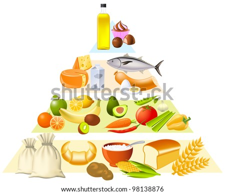 Food pyramid set partly made with gradient mesh - stock vector