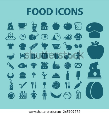 food, restaurant, cafe icons, signs, illustrations design concept set for appliciation, website, vector on white background