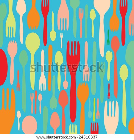 Food - restaurant - menu design with cutlery silhouette - stock vector