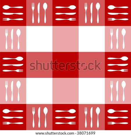 Food, restaurant, menu design with cutlery silhouettes pattern on red tablecloth texture.
